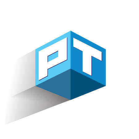 Letter PT logo in hexagon shape and blue background, cube logo with letter design for company identity.
