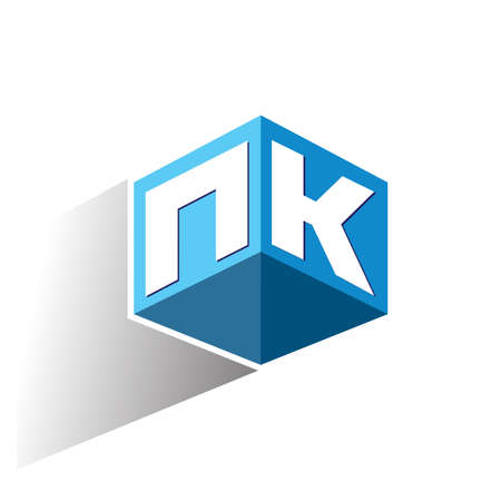 Letter NK logo in hexagon shape and blue background, cube logo with letter design for company identity. Ilustrace