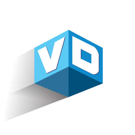 Letter VD logo in hexagon shape and blue background, cube logo with letter design for company identity.