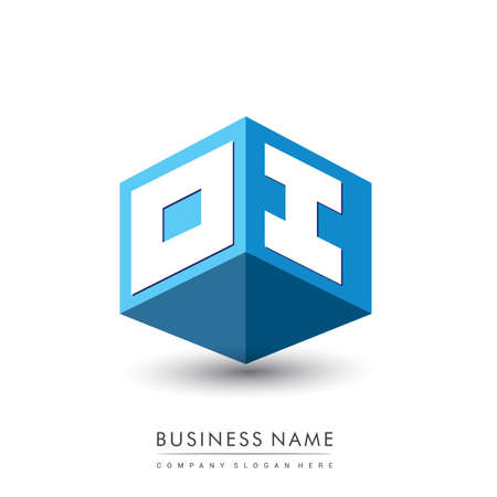 Letter OI logo in hexagon shape and blue background, cube logo with letter design for company identity.