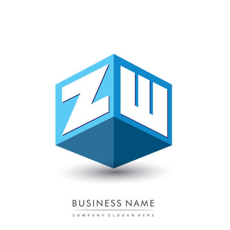 Letter ZW logo in hexagon shape and blue background, cube logo with letter design for company identity.