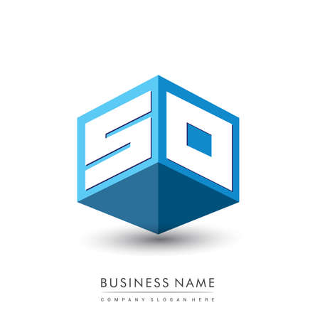 Letter SO logo in hexagon shape and blue background, cube logo with letter design for company identity.