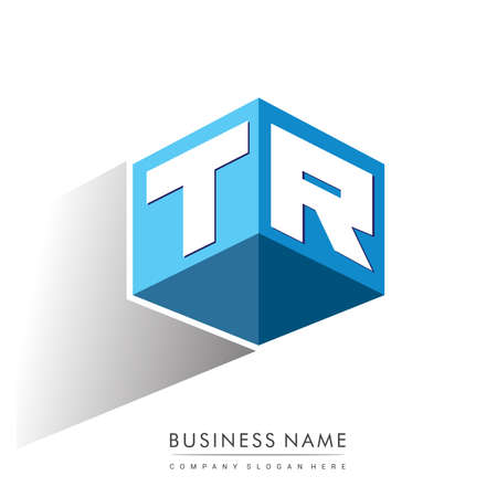 Letter TR logo in hexagon shape and blue background, cube logo with letter design for company identity. Logó