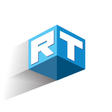 Letter RT logo in hexagon shape and blue background, cube logo with letter design for company identity.