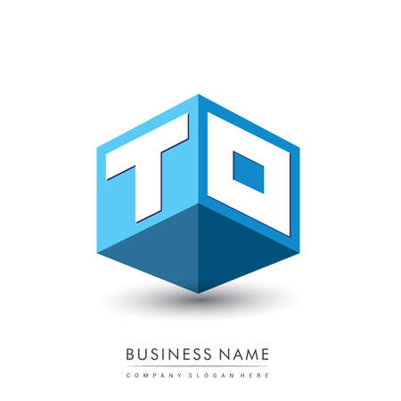 Letter TO logo in hexagon shape and blue background, cube logo with letter design for company identity. Ilustração