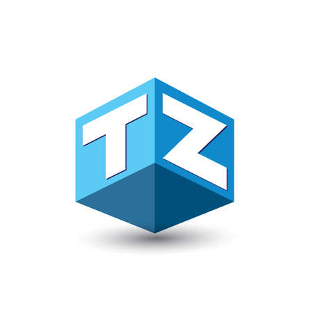 Letter TZ logo in hexagon shape and blue background, cube logo with letter design for company identity. Logó