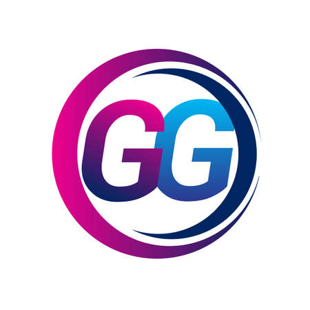 initial letter logo GG company name blue and magenta color on circle and swoosh design. vector logotype for business and company identity.