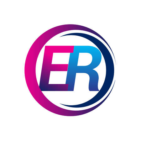 initial letter logo ER company name blue and magenta color on circle and swoosh design. vector logotype for business and company identity.