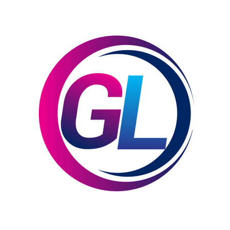 initial letter logo GL company name blue and magenta color on circle and swoosh design. vector logotype for business and company identity.