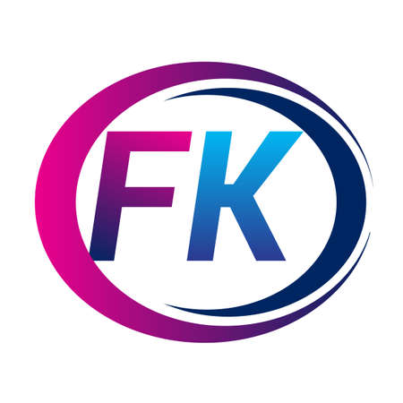 initial letter logo FK company name blue and magenta color on circle and swoosh design. vector logotype for business and company identity. Logó