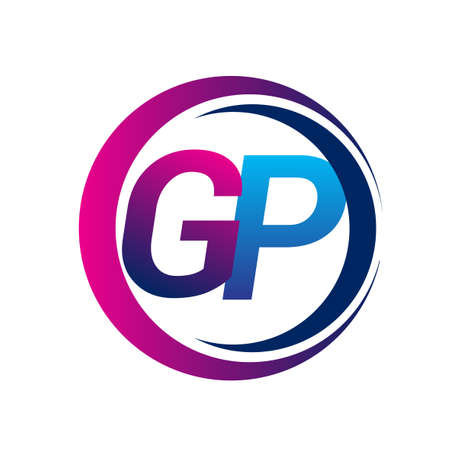 initial letter logo GP company name blue and magenta color on circle and swoosh design. vector logotype for business and company identity.
