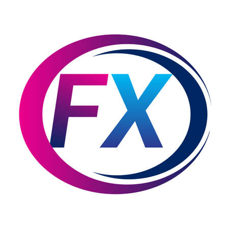 initial letter logo FX company name blue and magenta color on circle and swoosh design. vector logotype for business and company identity.
