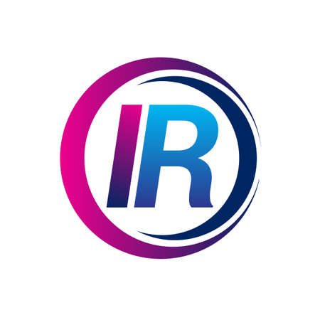 initial letter logo IR company name blue and magenta color on circle and swoosh design. vector logotype for business and company identity. Ilustrace