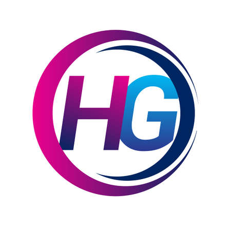 initial letter logo HG company name blue and magenta color on circle and swoosh design. vector logotype for business and company identity.