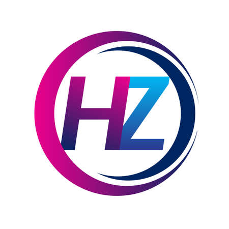 initial letter logo HZ company name blue and magenta color on circle and swoosh design. vector logotype for business and company identity. Logó