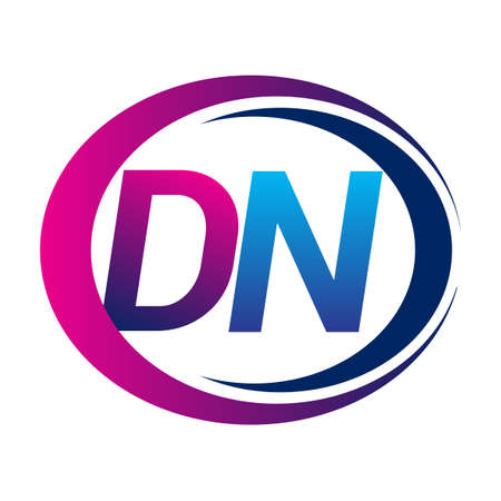 initial letter logo DN company name blue and magenta color on circle and swoosh design. vector logotype for business and company identity.