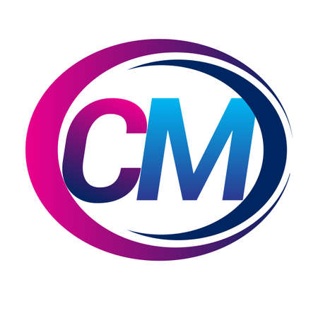 initial letter logo CM company name blue and magenta color on circle and swoosh design. vector logotype for business and company identity.