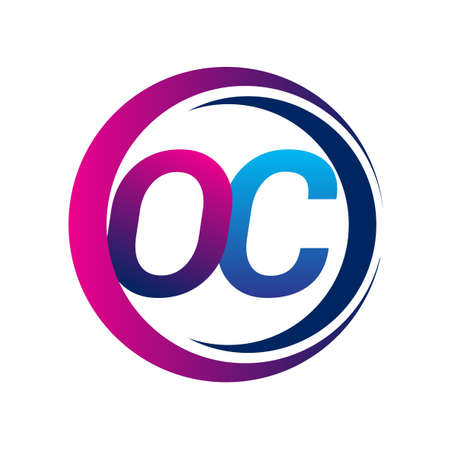 initial letter logo OC company name blue and magenta color on circle and swoosh design. vector logotype for business and company identity.