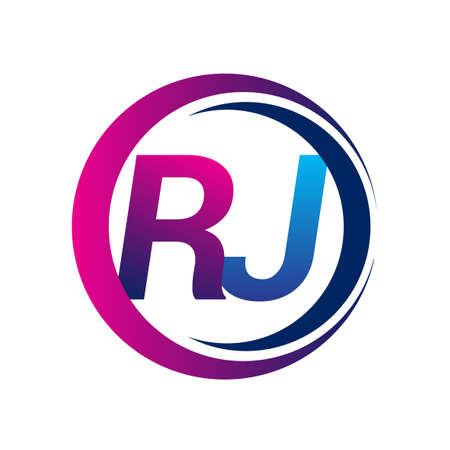 initial letter logo RJ company name blue and magenta color on circle and swoosh design. vector logotype for business and company identity.