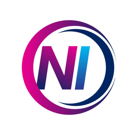 initial letter logo NI company name blue and magenta color on circle and swoosh design. vector logotype for business and company identity.