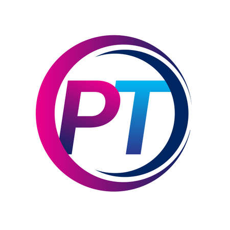 initial letter logo PT company name blue and magenta color on circle and swoosh design. vector logotype for business and company identity.