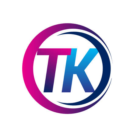 initial letter TK company name blue and magenta color on circle and swoosh design. vector for business and company identity.