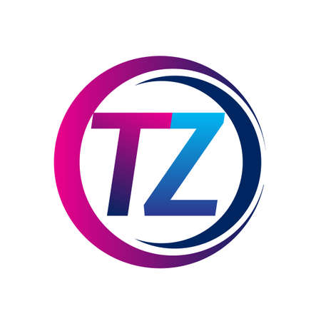 initial letter logo TZ company name blue and magenta color on circle and swoosh design. vector logotype for business and company identity.