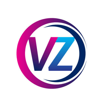 initial letter logo VZ company name blue and magenta color on circle and swoosh design. vector logotype for business and company identity.