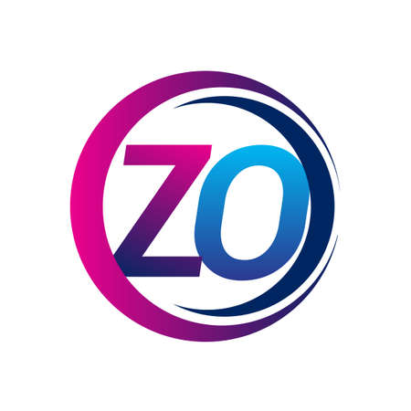 initial letter logo ZO company name blue and magenta color on circle and swoosh design. vector logotype for business and company identity. Logo