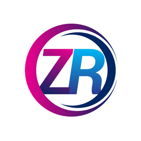 initial letter logo ZR company name blue and magenta color on circle and swoosh design. vector logotype for business and company identity.