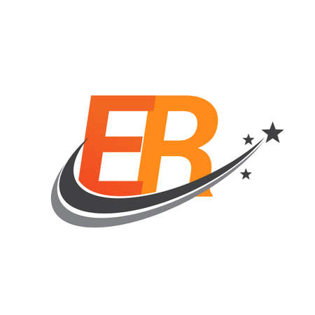 initial letter ER logotype company name colored orange and grey swoosh star design. vector logo for business and company identity.