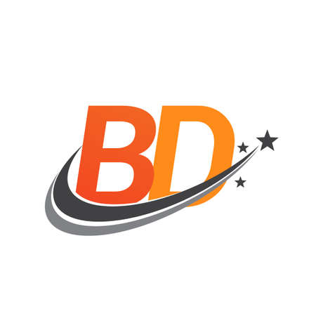 initial letter BD logotype company name colored orange and grey swoosh star design. vector logo for business and company identity.