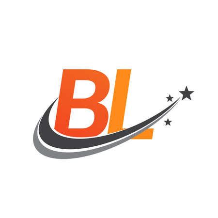 initial letter BL logotype company name colored orange and grey swoosh star design. vector logo for business and company identity.