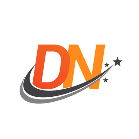 initial letter DN company name colored orange and grey swoosh star design. vector for business and company identity.