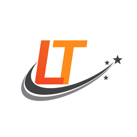 initial letter LT logotype company name colored orange and grey swoosh star design. vector logo for business and company identity. Logó