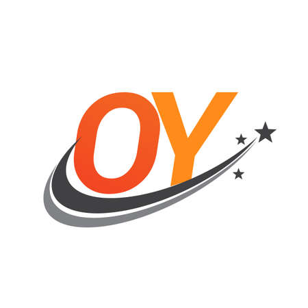 initial letter OY logotype company name colored orange and grey swoosh star design. vector logo for business and company identity. Ilustração