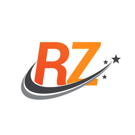 initial letter RZ logotype company name colored orange and grey swoosh star design. vector logo for business and company identity. Logó