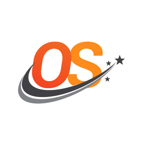 initial letter OS company name colored orange and grey swoosh star design. vector for business and company identity.