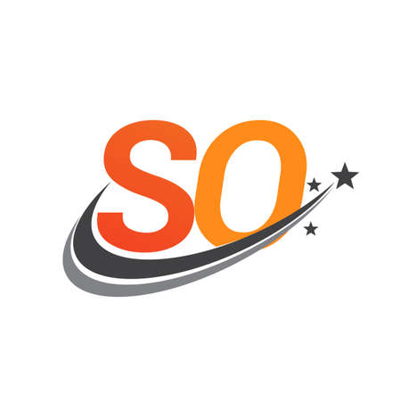 initial letter SO   company name colored orange and grey swoosh star design. vector   for business and company identity.