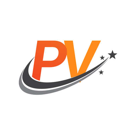 initial letter PV company name colored orange and grey swoosh star design. vector for business and company identity.
