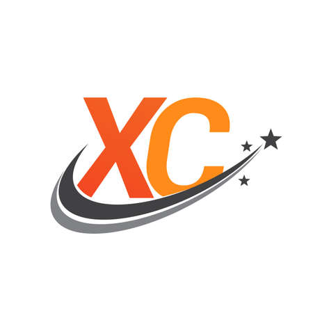 initial letter XC logotype company name colored orange and grey swoosh star design. vector logo for business and company identity.