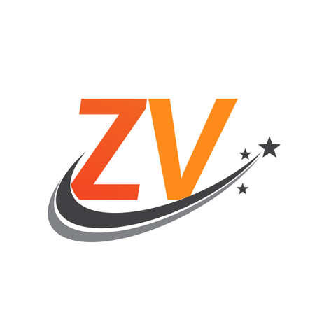initial letter ZV logotype company name colored orange and grey swoosh star design. vector logo for business and company identity.