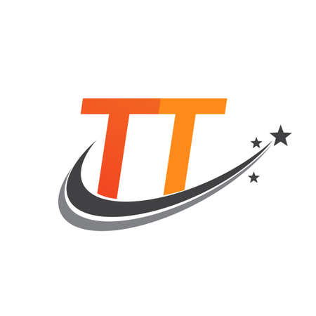 initial letter TT logotype company name colored orange and grey swoosh star design. vector logo for business and company identity.