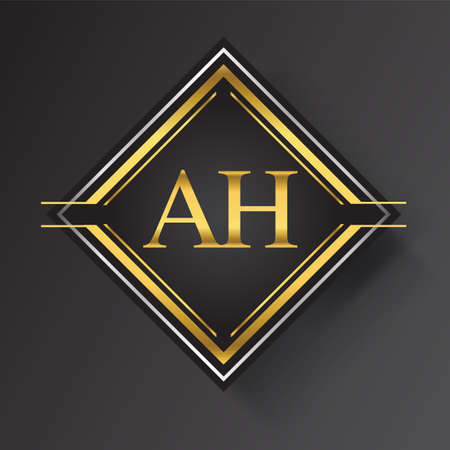 AH Letter logo in a square shape gold and silver colored geometric ornaments. Vector design template elements for your business or company identity.