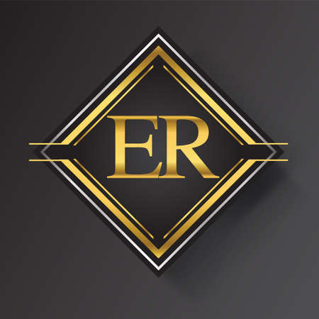 ER Letter logo in a square shape gold and silver colored geometric ornaments. Vector design template elements for your business or company identity.
