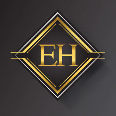 EH Letter logo in a square shape gold and silver colored geometric ornaments. Vector design template elements for your business or company identity.