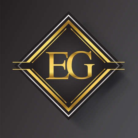 EG Letter logo in a square shape gold and silver colored geometric ornaments. Vector design template elements for your business or company identity.
