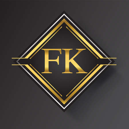 FK Letter logo in a square shape gold and silver colored geometric ornaments. Vector design template elements for your business or company identity.