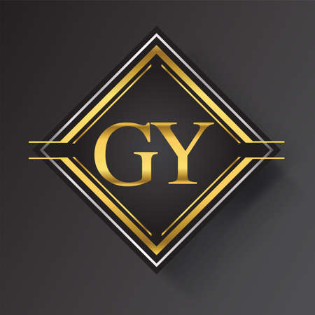 GY Letter logo in a square shape gold and silver colored geometric ornaments. Vector design template elements for your business or company identity.