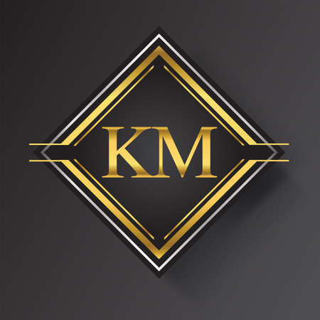 KM Letter logo in a square shape gold and silver colored geometric ornaments. Vector design template elements for your business or company identity. Logó